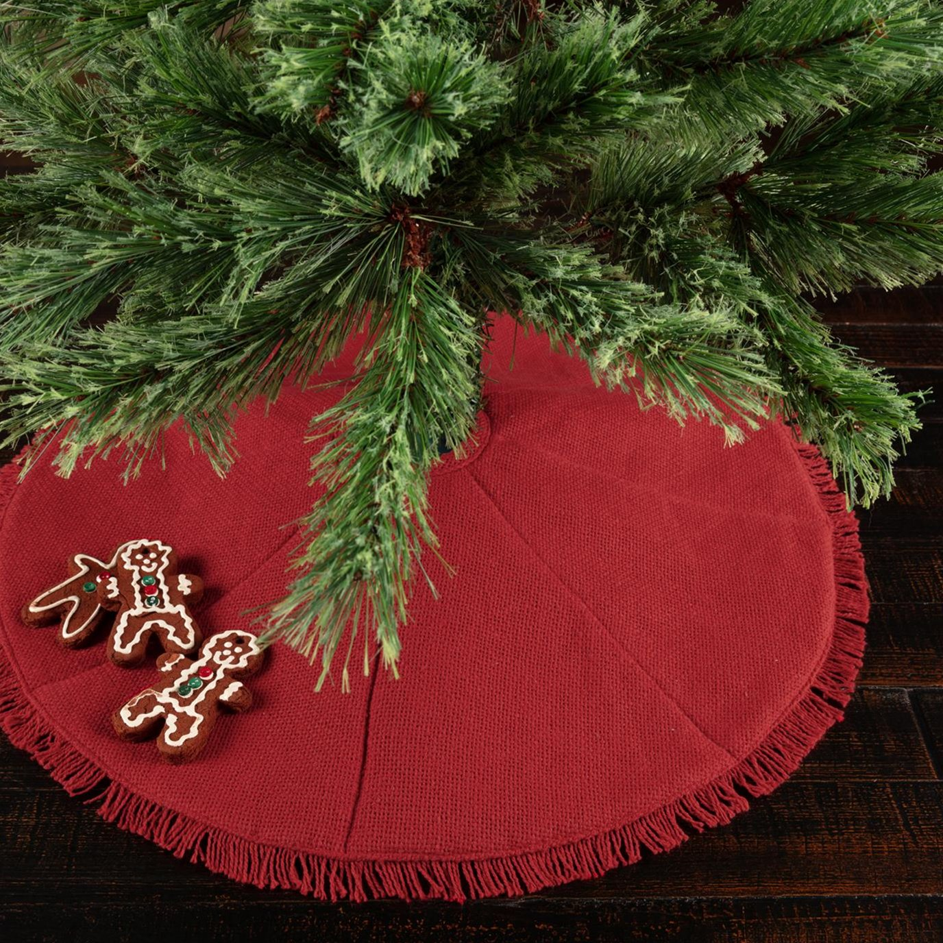 Festive Red Burlap Mini Tree Skirt 21