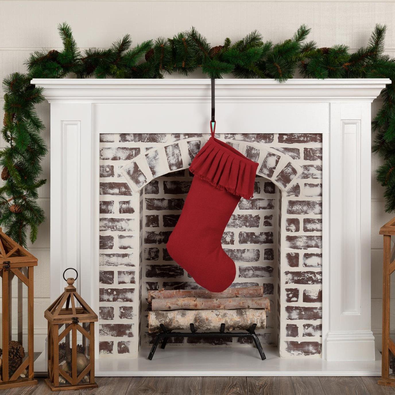 Festive Red Burlap Ruffled Stocking 11x20