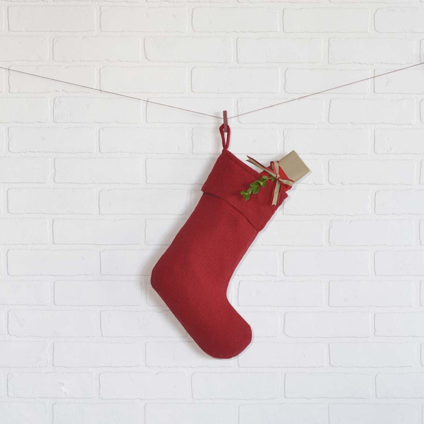 Festive Red Burlap Stocking 11x15
