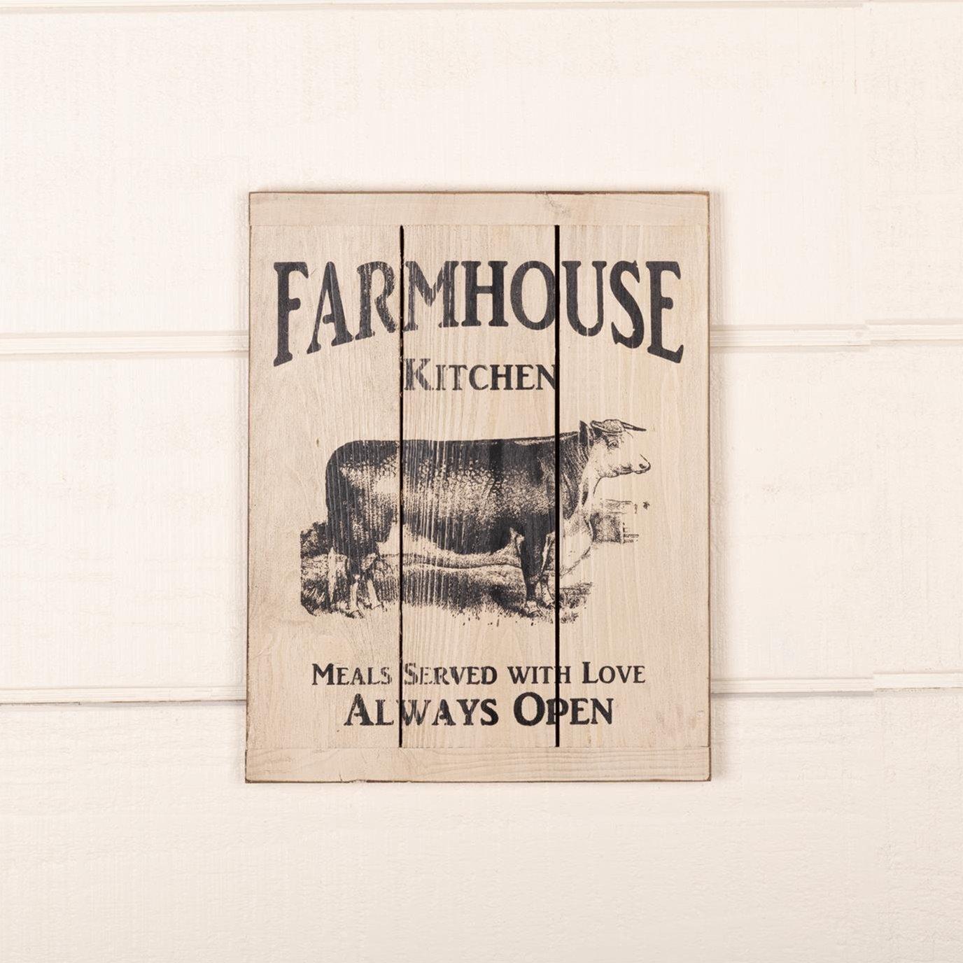 Farmhouse Kitchen Cow Wood Sign