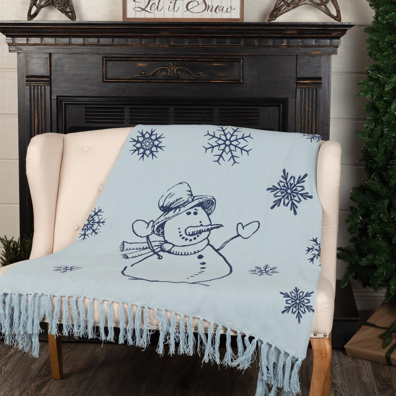 Happy Snowman Navy on Blue Woven Throw 60x50