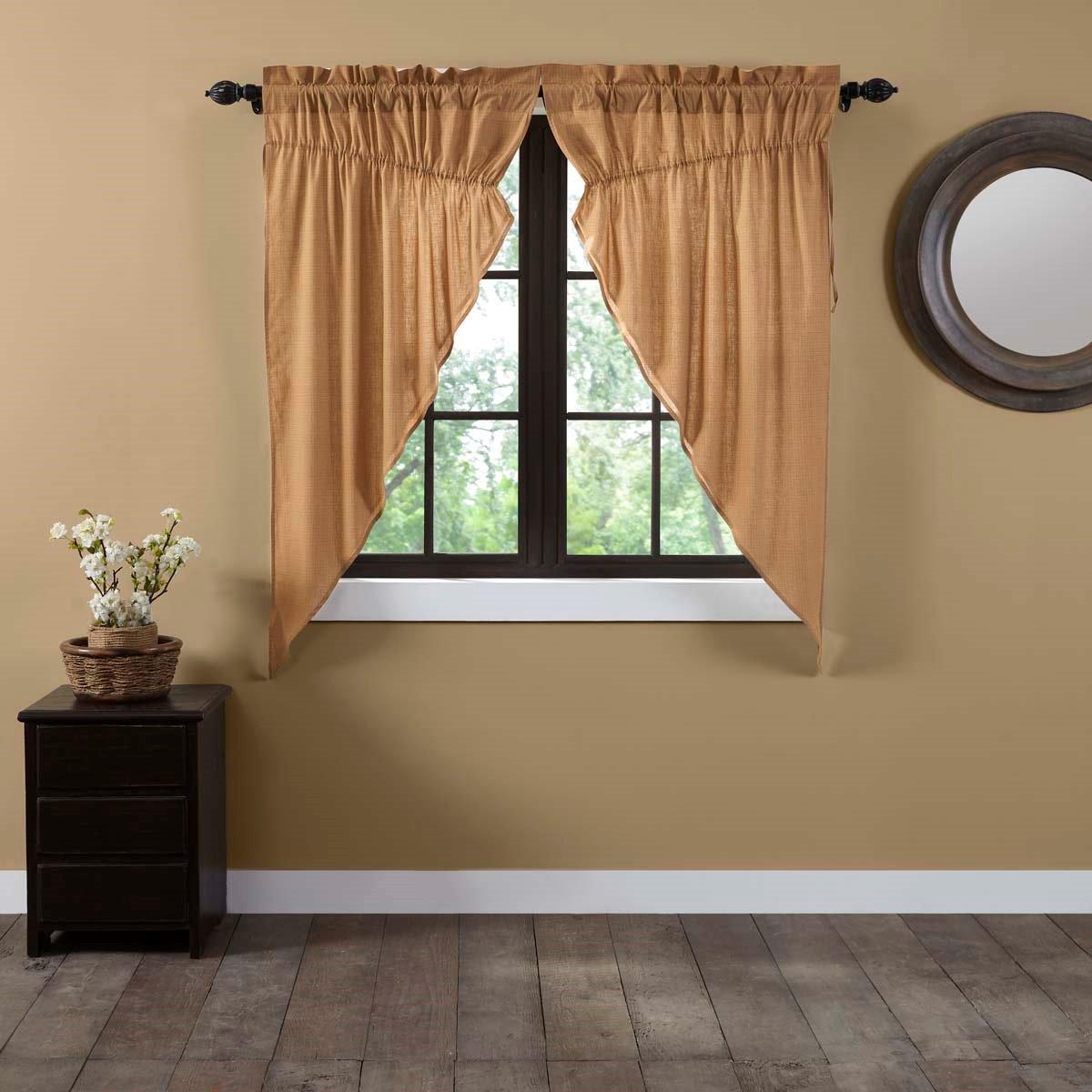 Kindred Star Plaid Prairie Curtain Set of 2 63x36x18