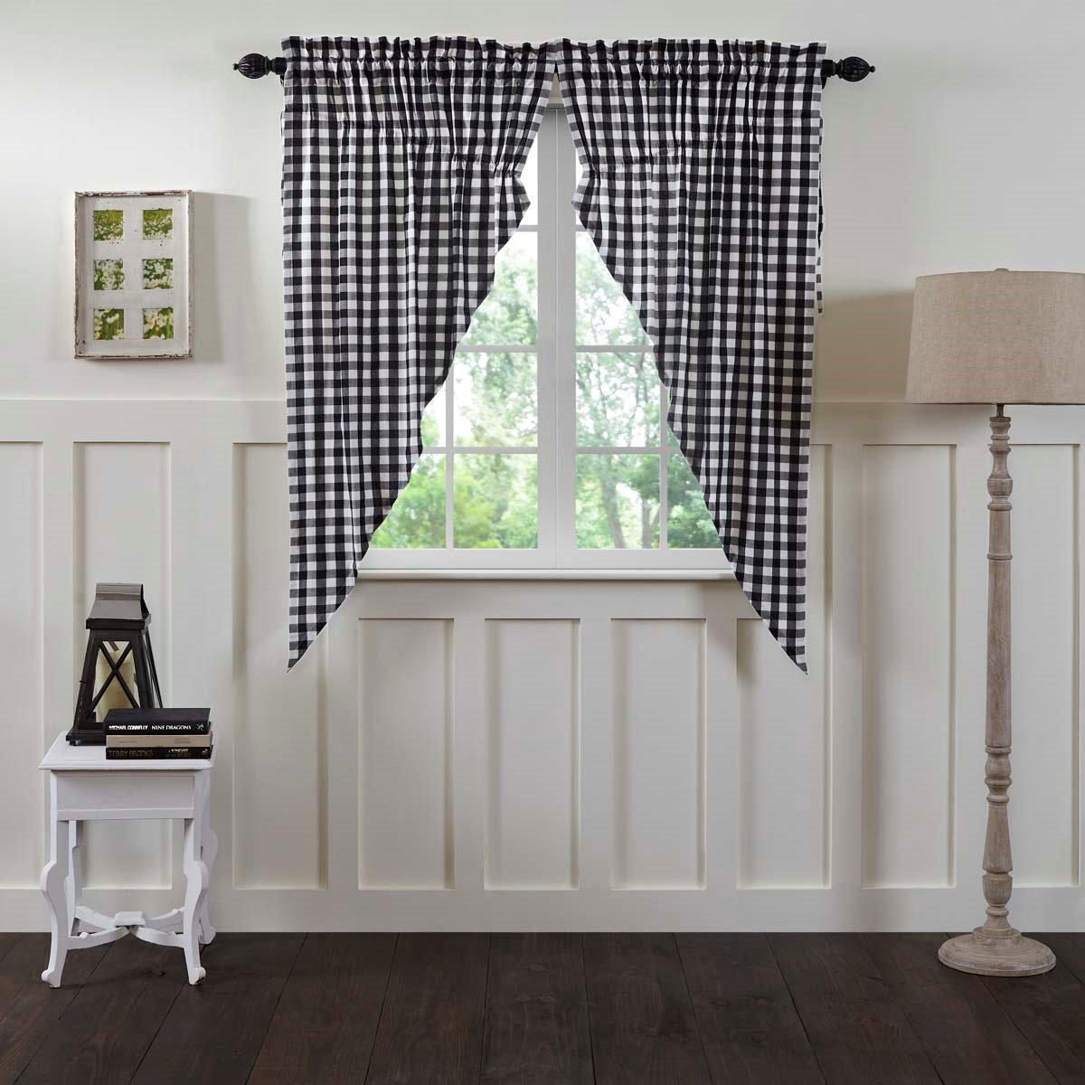 Annie Buffalo Black Check Prairie Curtain Set of 2 63x36x18