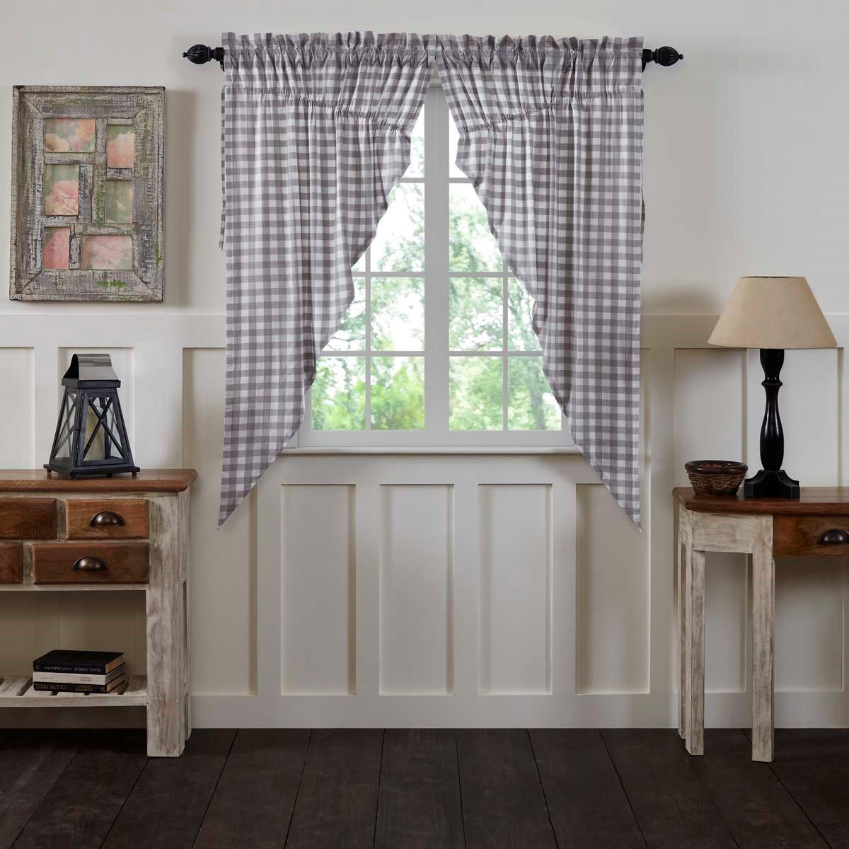 Annie Buffalo Grey Check Prairie Curtain Set of 2 63x36x18