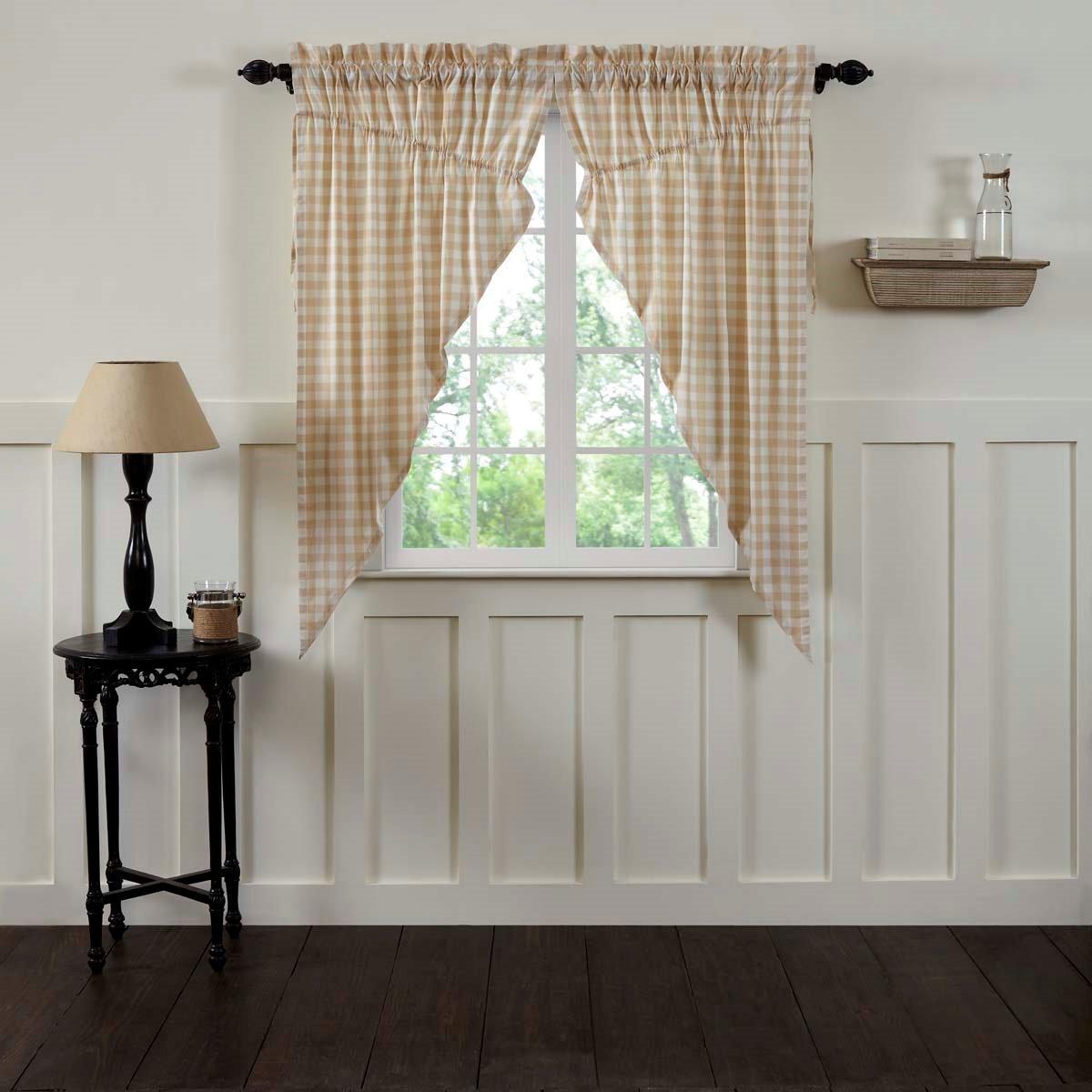 Annie Buffalo Tan Check Prairie Curtain Set of 2 63x36x18