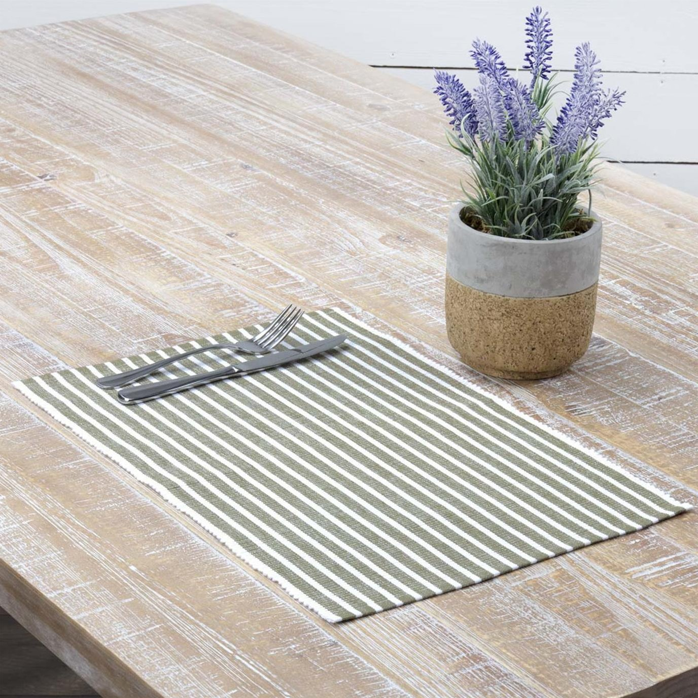 Harmony Olive Ribbed Placemat Set of 6 12x18