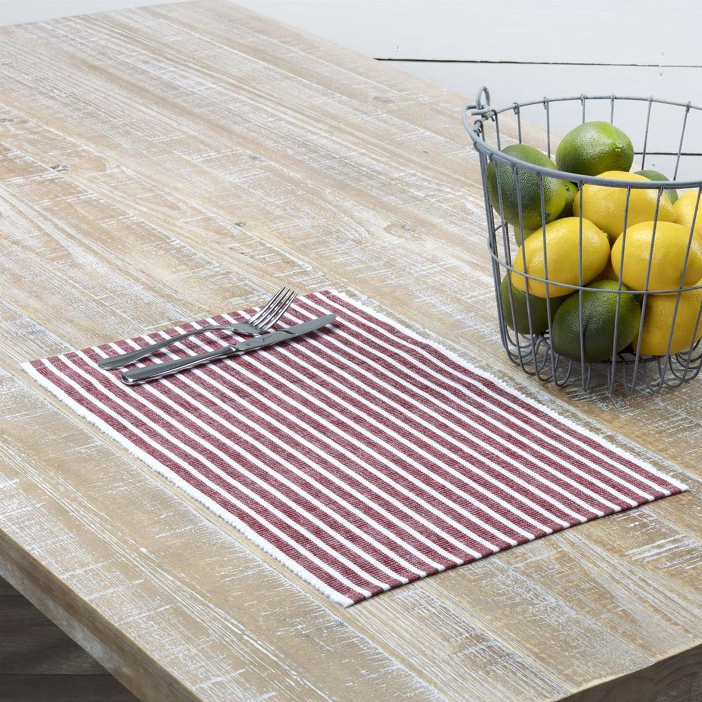 Harmony Red Ribbed Placemat Set of 6 12x18