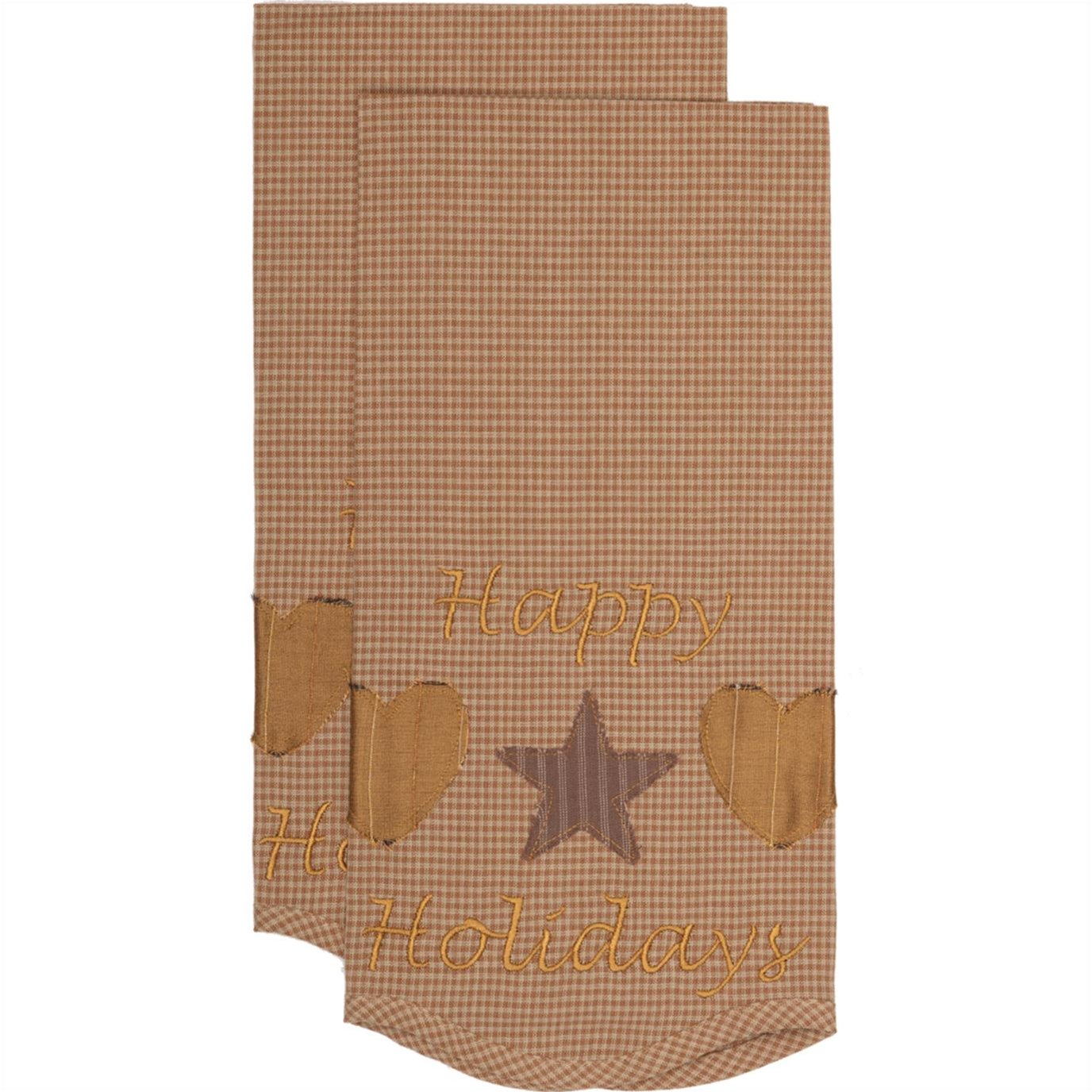 Hearts and Stars Tea Towel Set of 2 19x28