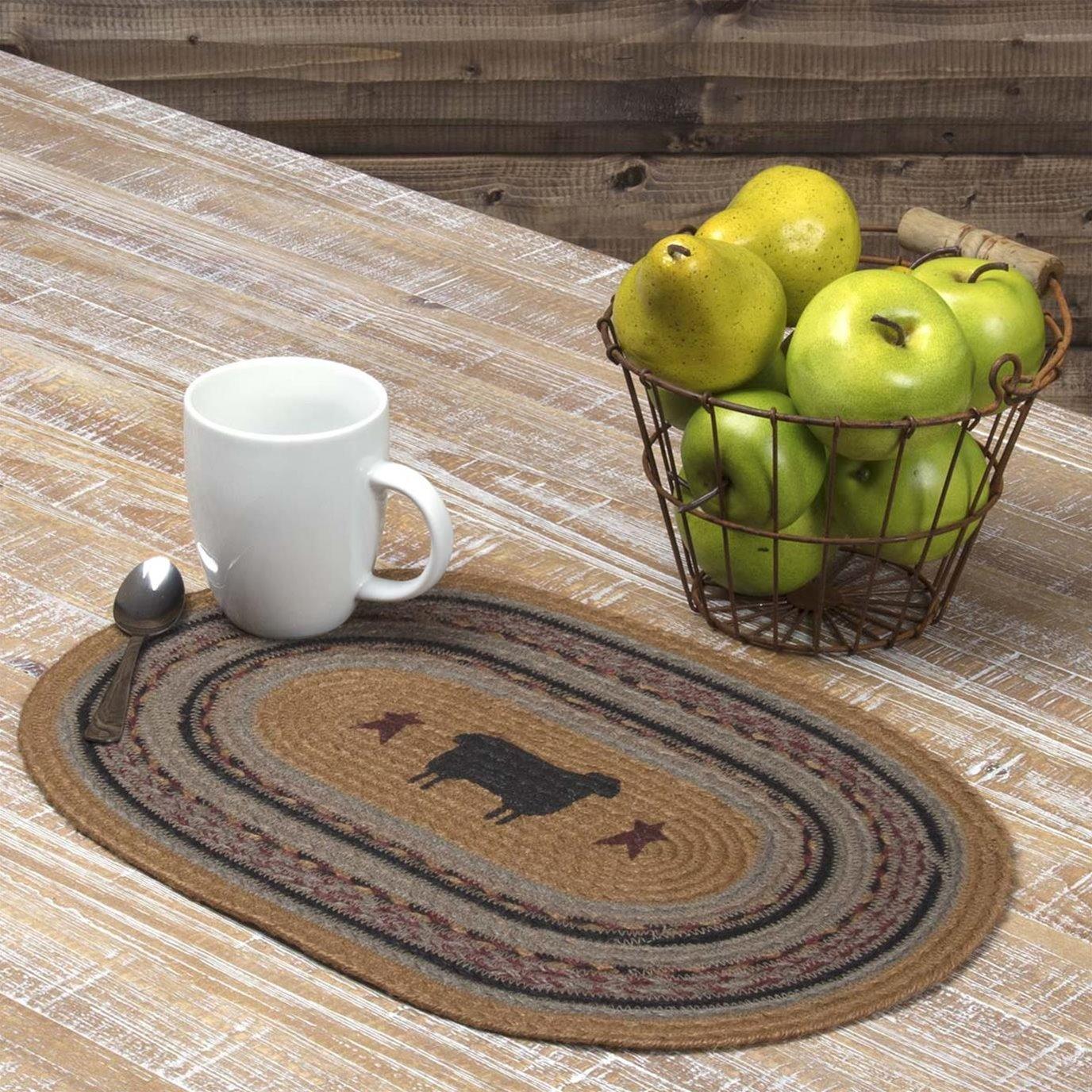 Heritage Farms Sheep Jute Placemat Set of 6 12x18