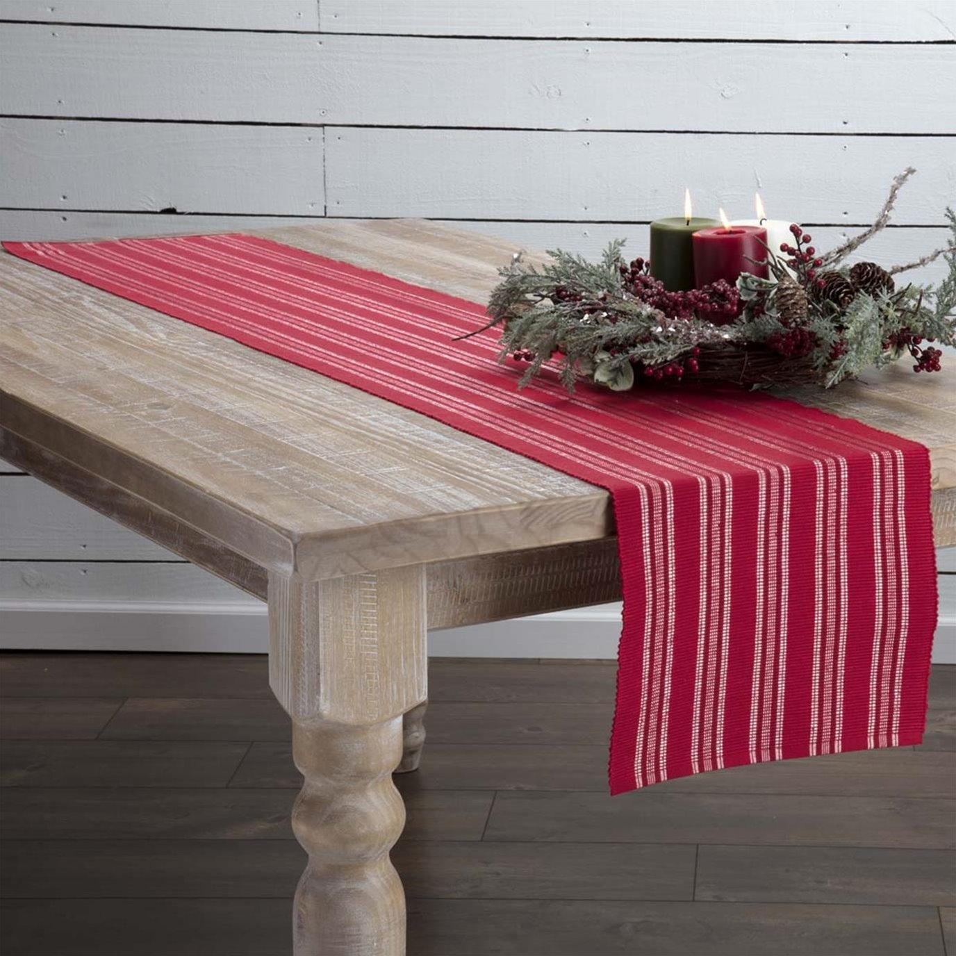 Holly Red Ribbed Runner 13x72