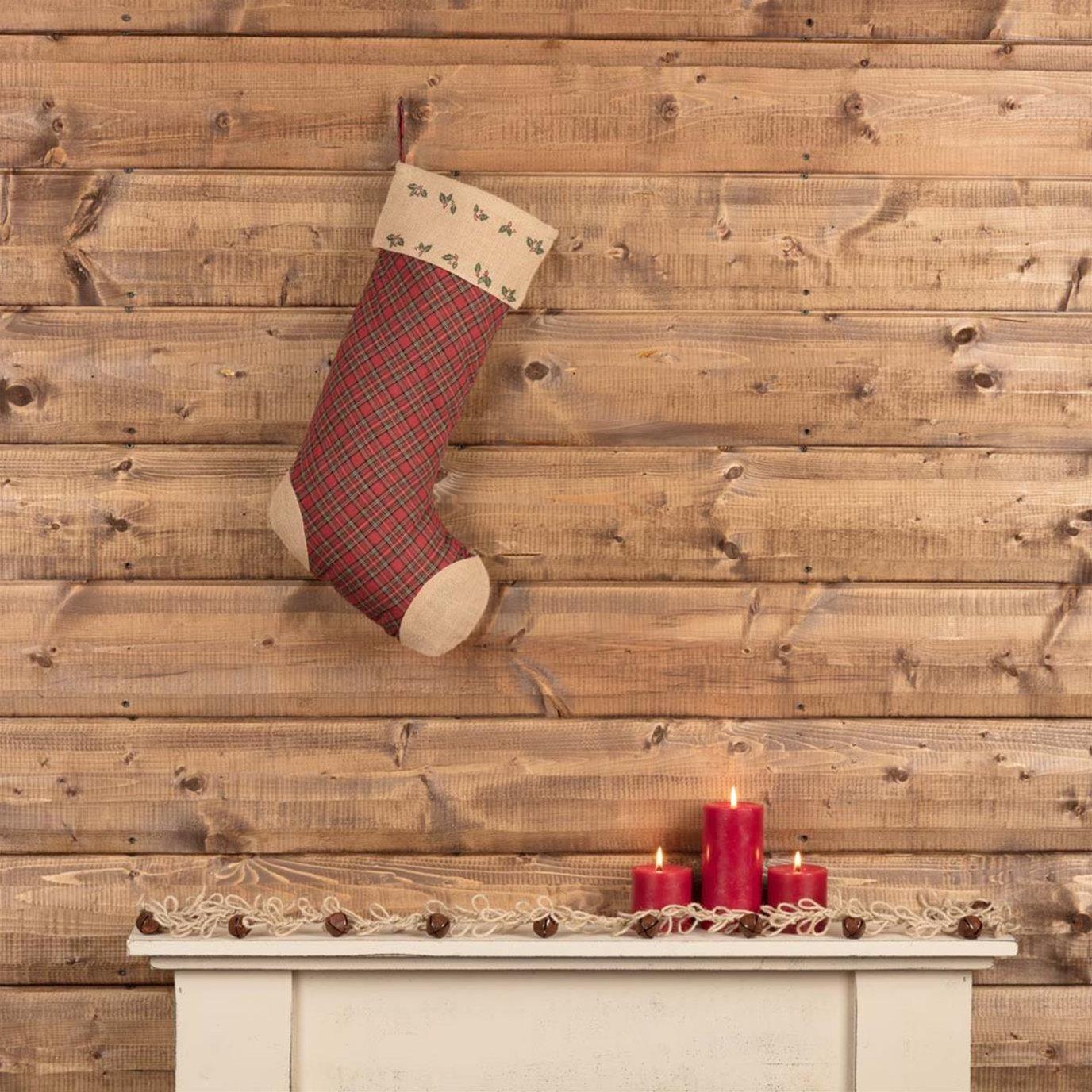 Jute Burlap Poinsettia Stocking 12x20