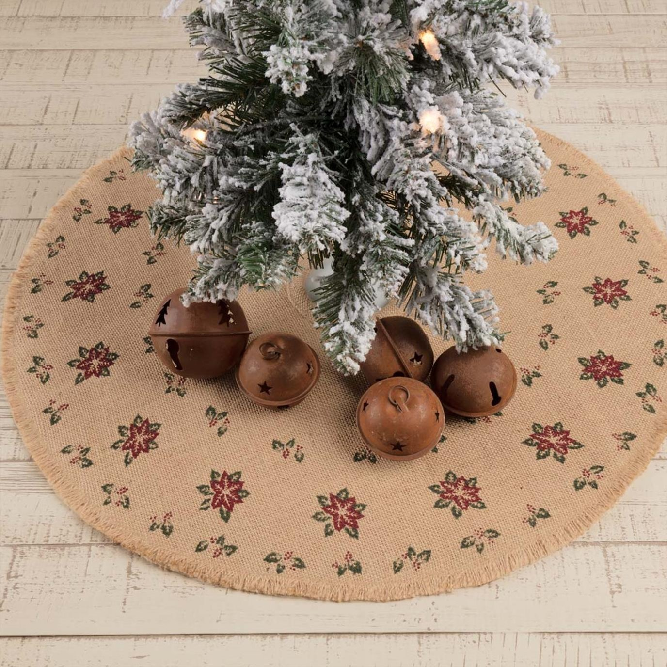 Jute Burlap Poinsettia Mini Tree Skirt 21