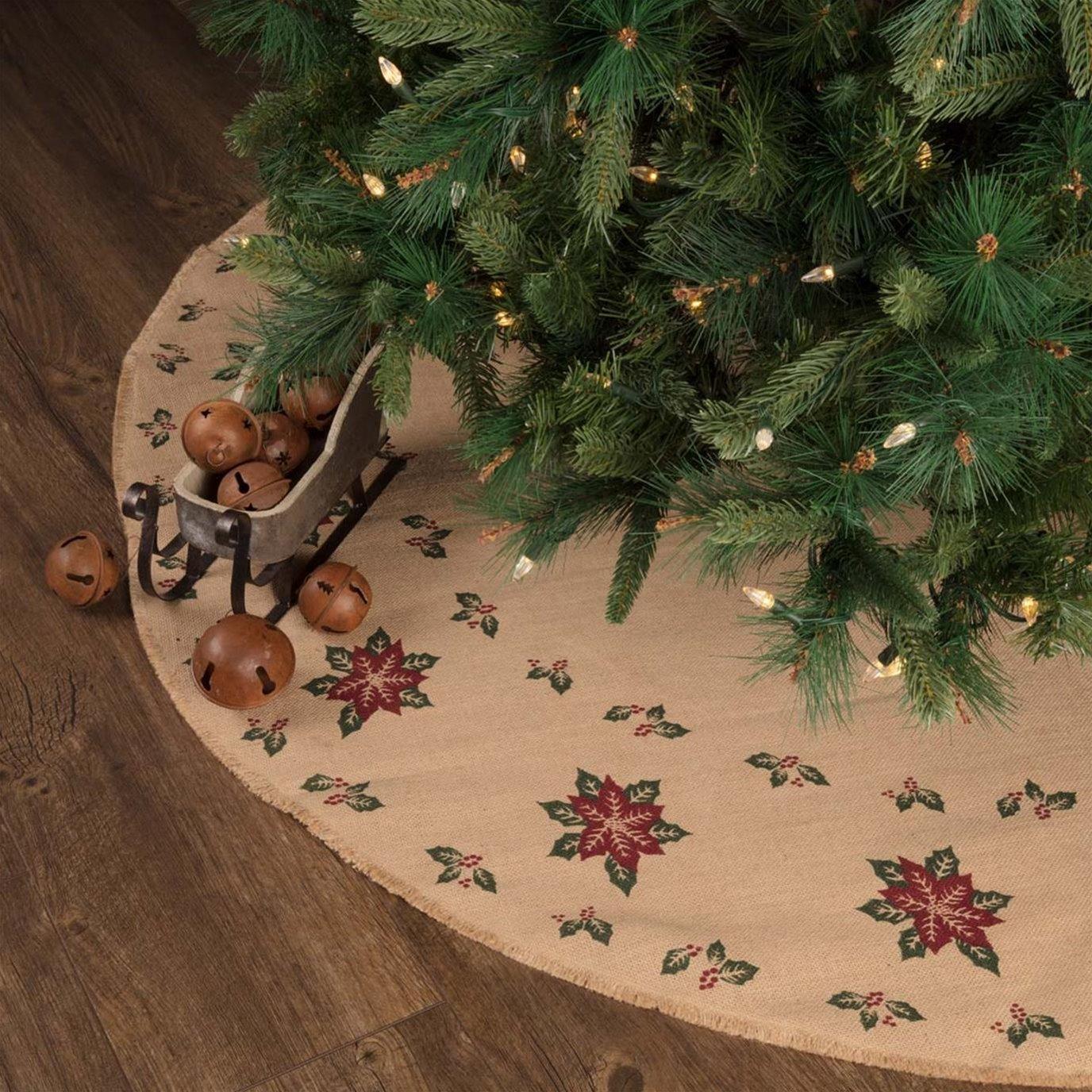 Jute Burlap Poinsettia Tree Skirt 55