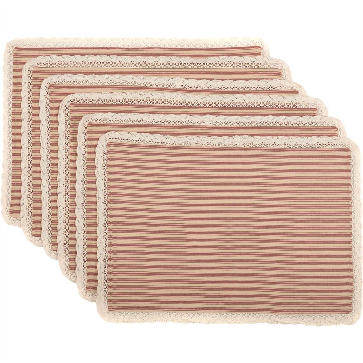 Kendra Stripe Red Placemat Set of 6 12x18