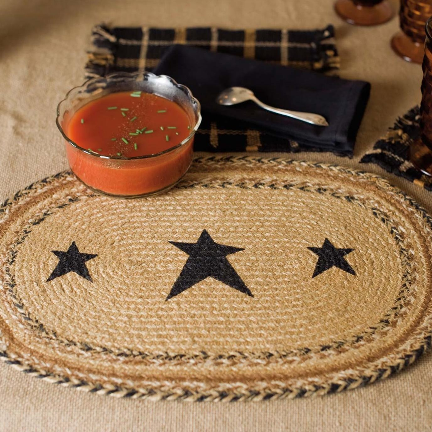Kettle Grove Jute Placemat Stencil Star Set of 6 12x18