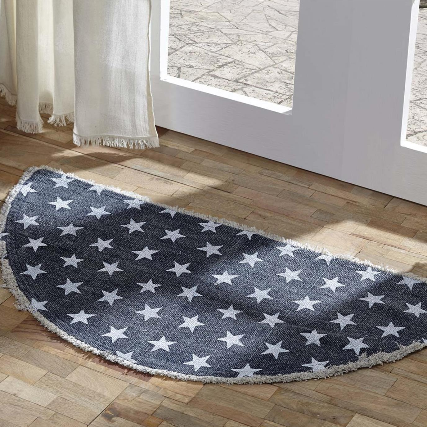 Multi Star Navy Cotton Rug Half Circle 16.5x33