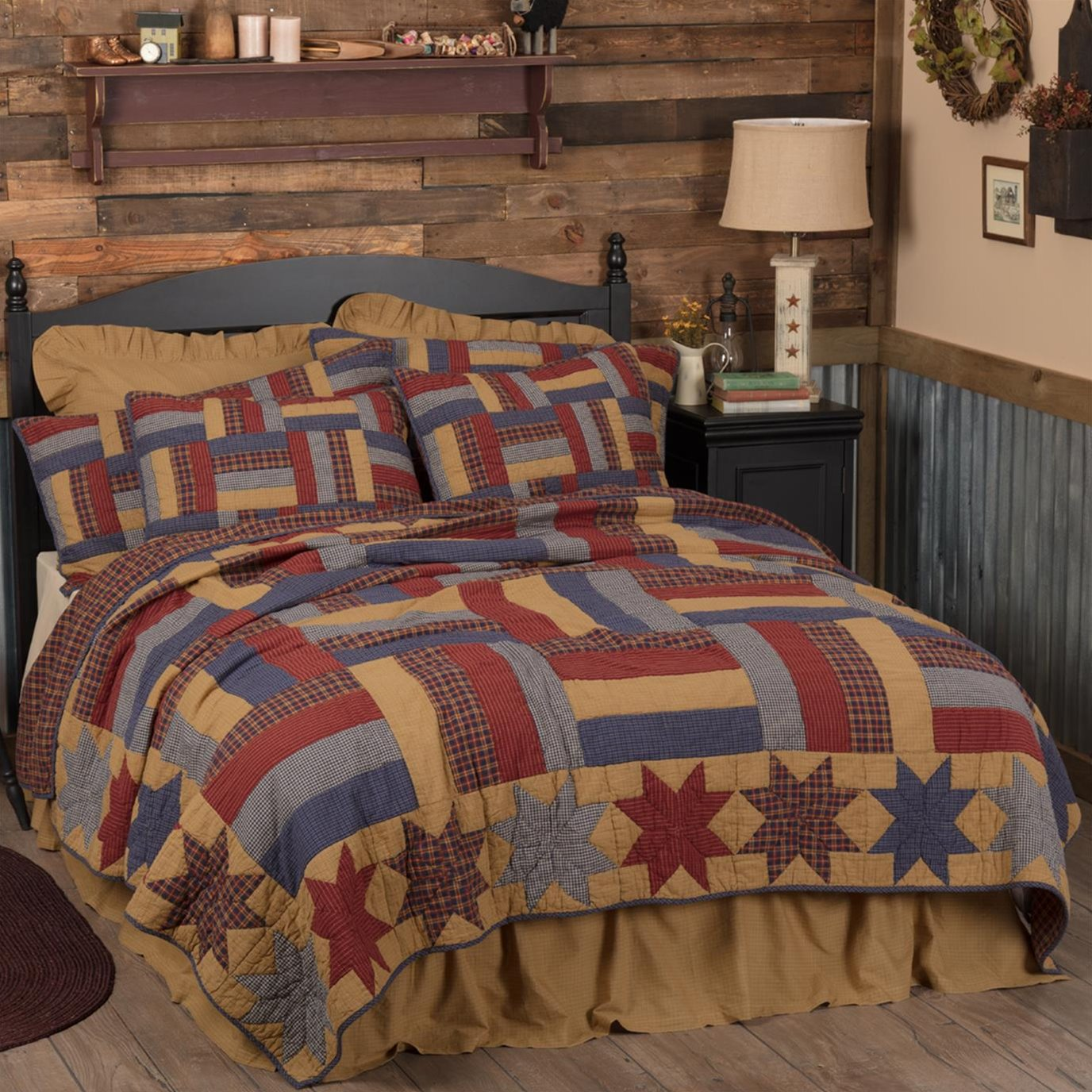 National Quilt Museum Kindred Stars and Bars King Quilt 105Wx95L