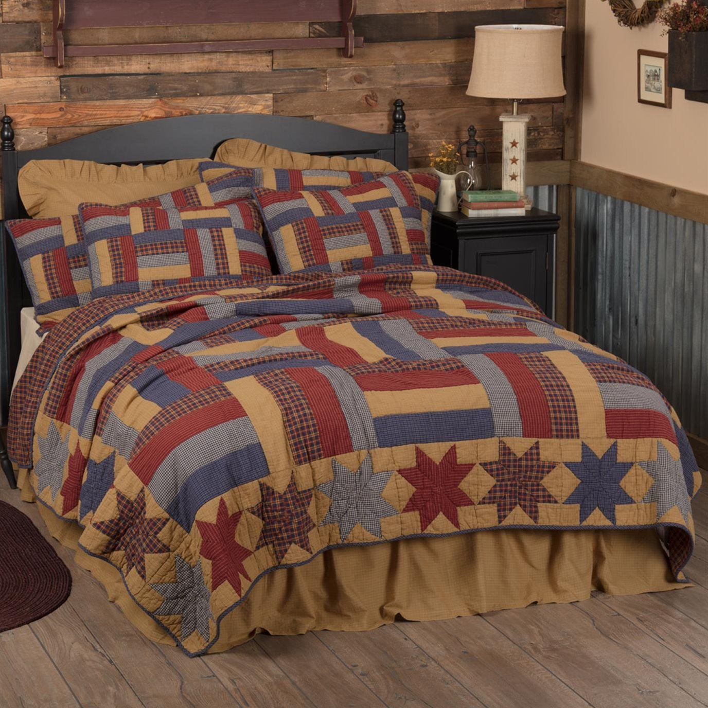 National Quilt Museum Kindred Stars and Bars Luxury King Quilt 120Wx105L