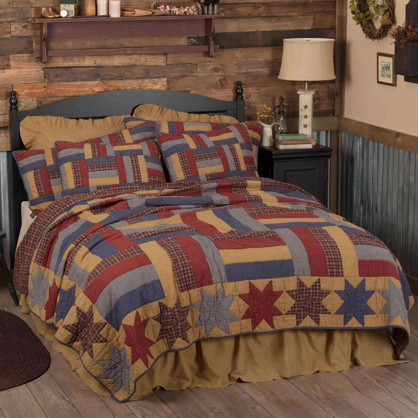 National Quilt Museum Kindred Stars and Bars Twin Quilt 68Wx86L