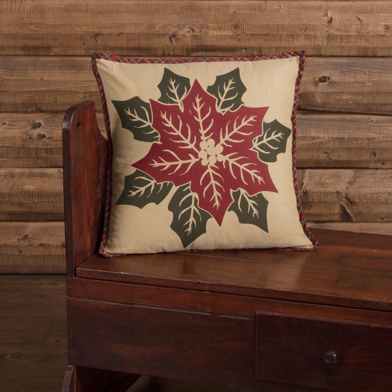 National Quilt Museum Poinsettia Block Pillow 18x18