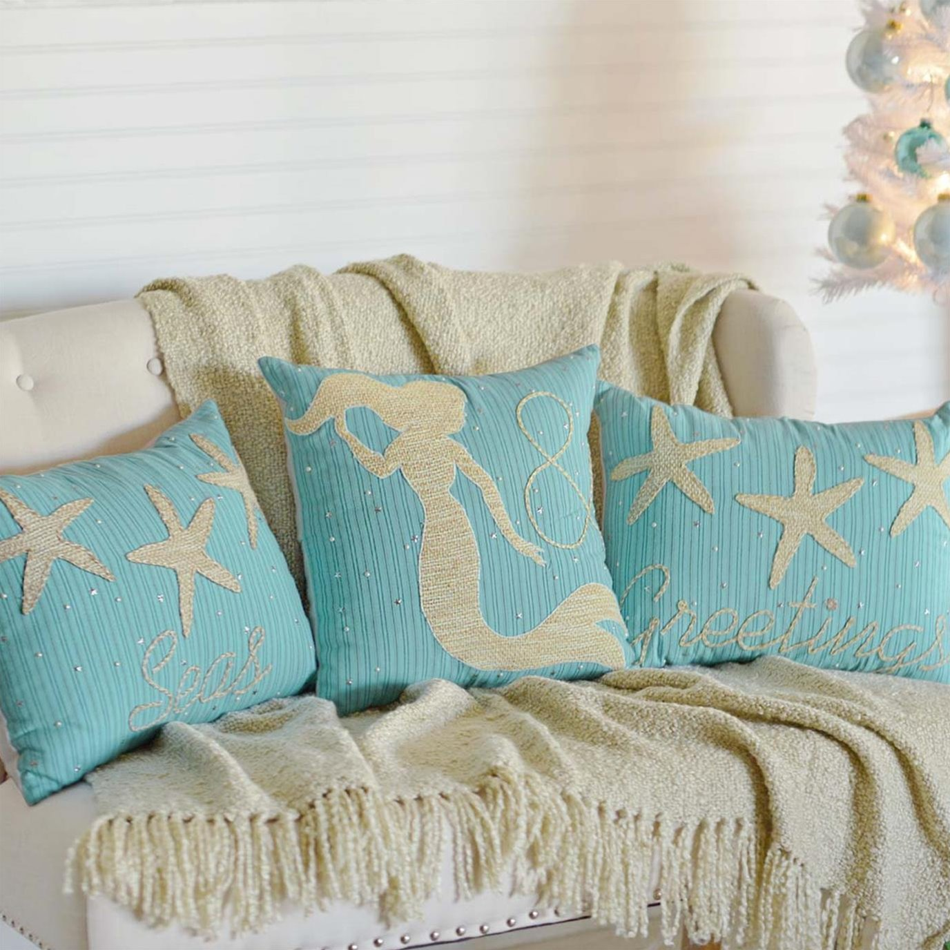 Nerine Seas & Greetings Set of 3 Pillows-Asstd Sizes