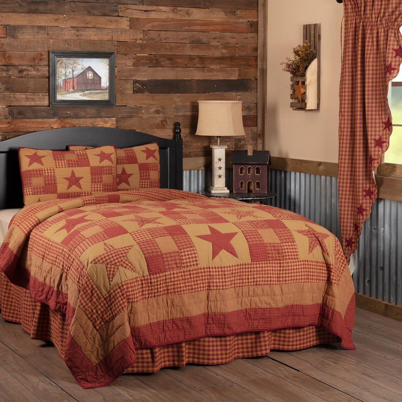 Ninepatch Star California King Quilt Set; 1-Quilt 130Wx115L w/2 Shams 21x37