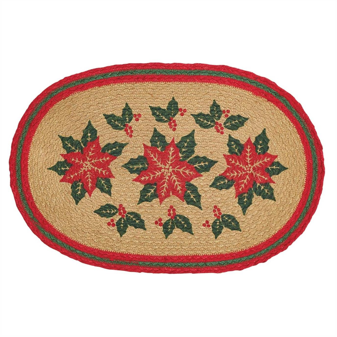 Poinsettia Jute Placemat Set of 6 12x18