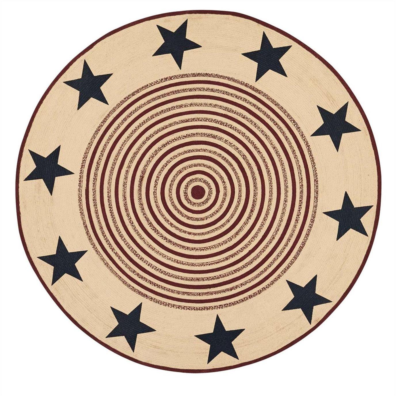 Potomac Jute Rug Stencil Stars 8ft Round