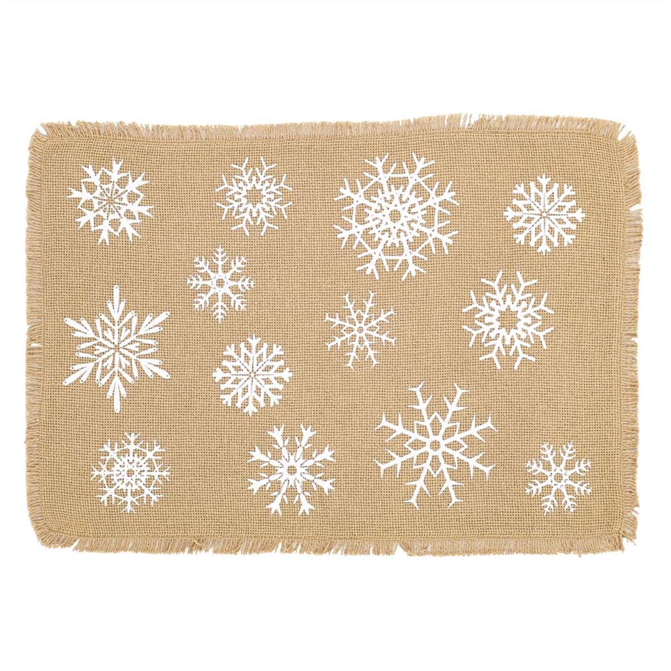 Snowflake Burlap Natural Placemat Set of 6 12x18