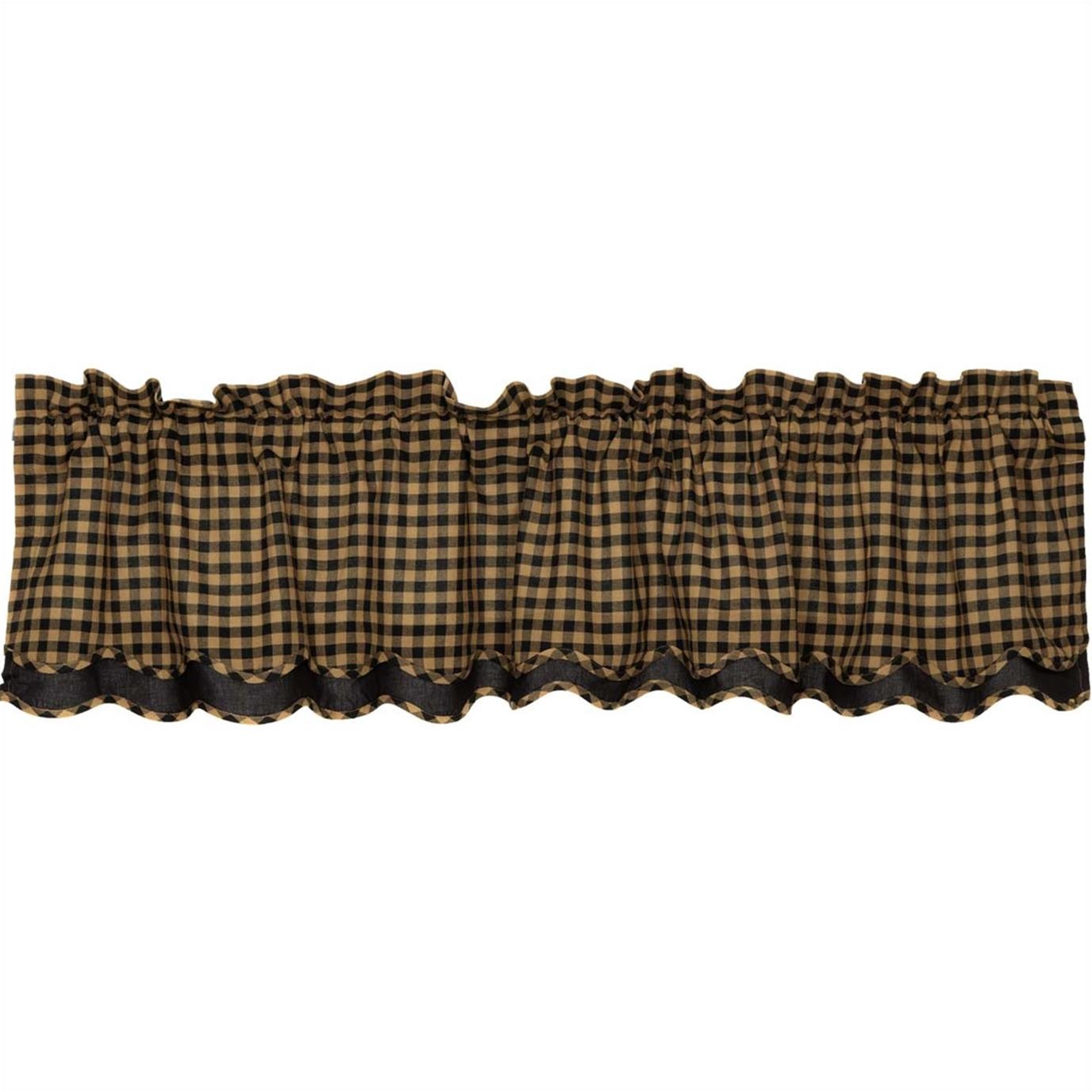 Black Check Scalloped Layered Valance 16x72
