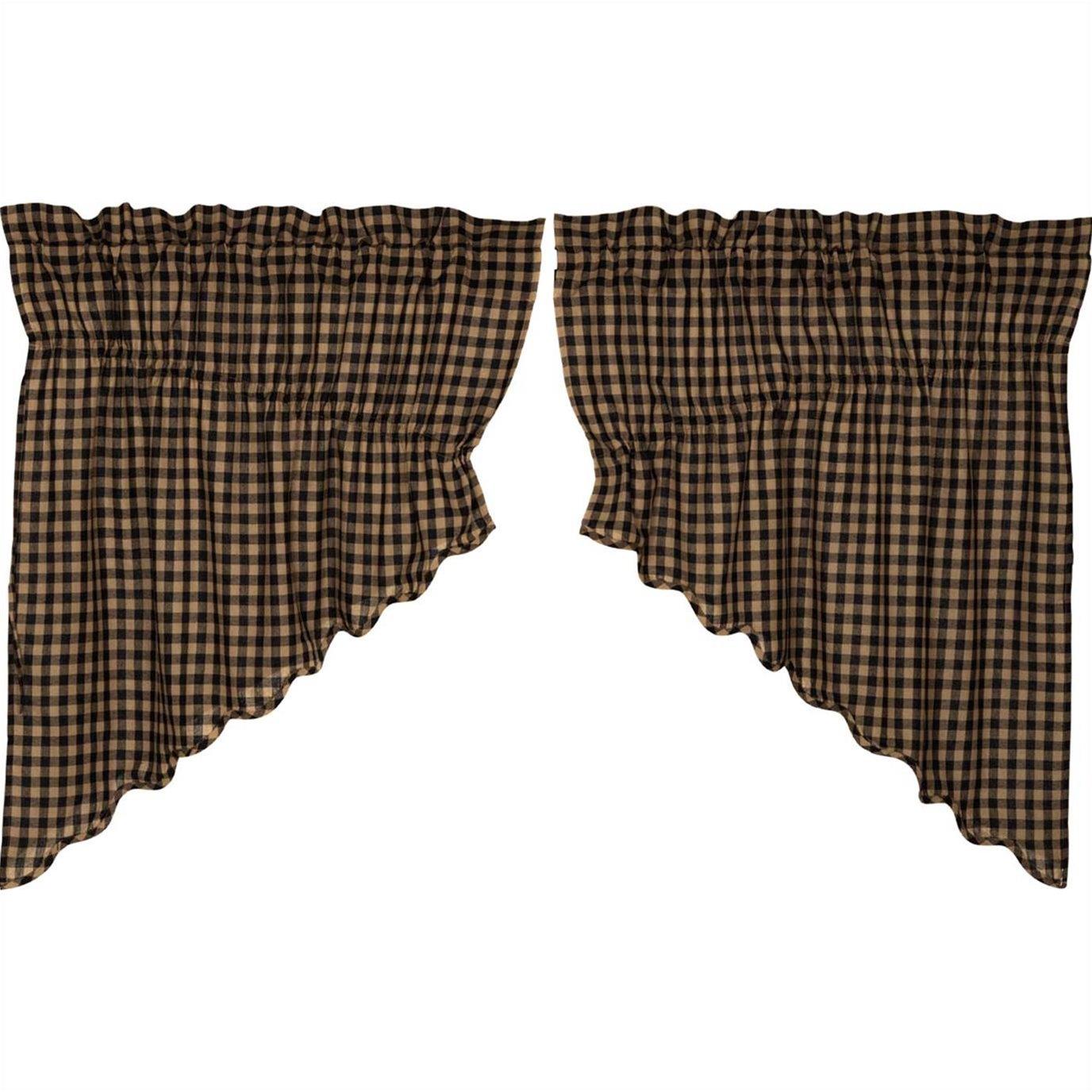 Black Check Scalloped Prairie Swag Set of 2 36x36x18