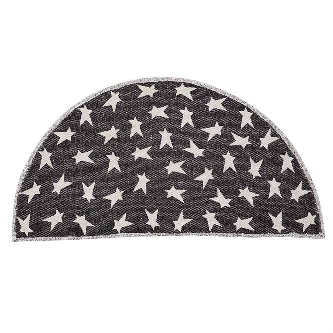 Black Primitive Star Rug Half Circle 16.5x33
