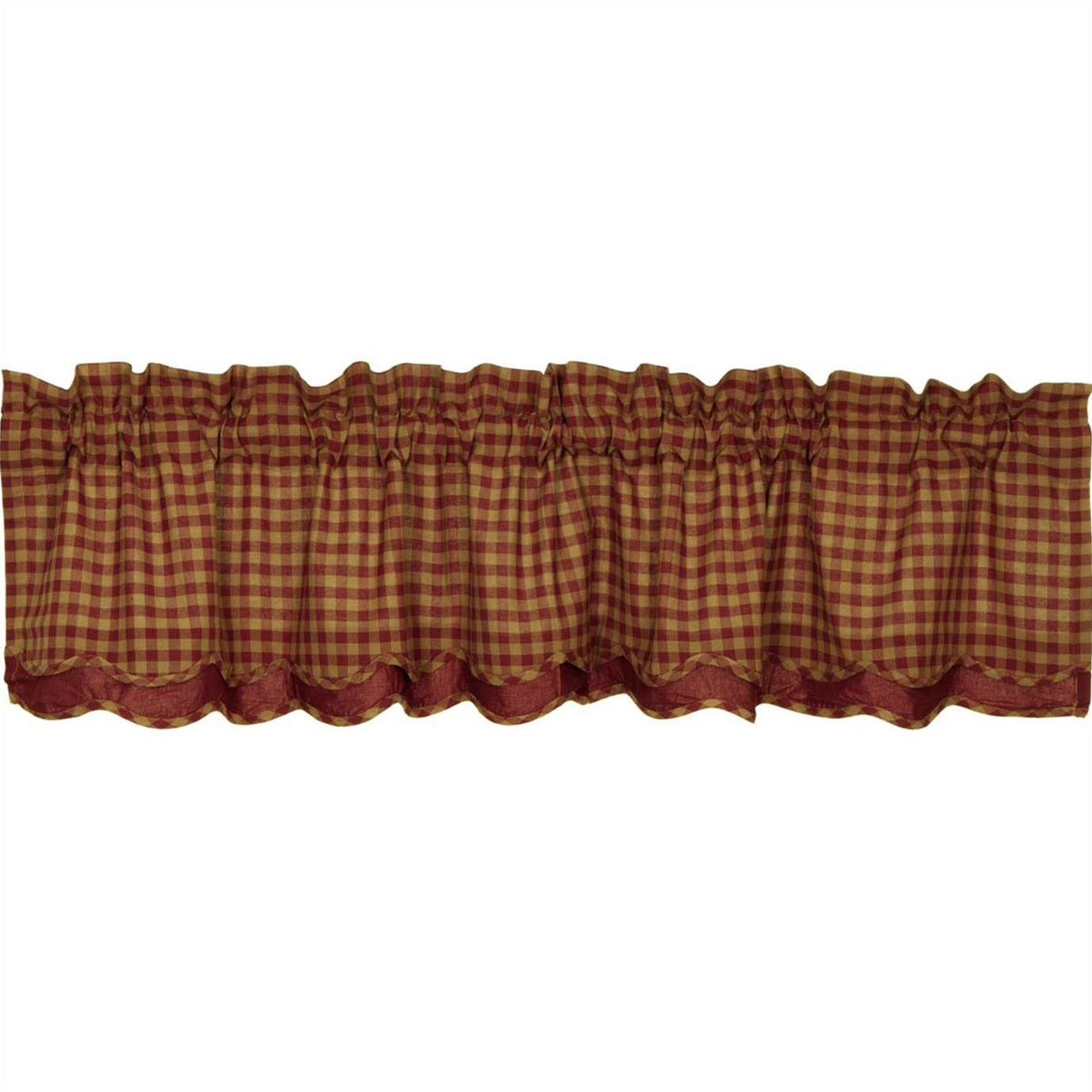 Burgundy Check Scalloped Layered Valance 16x72