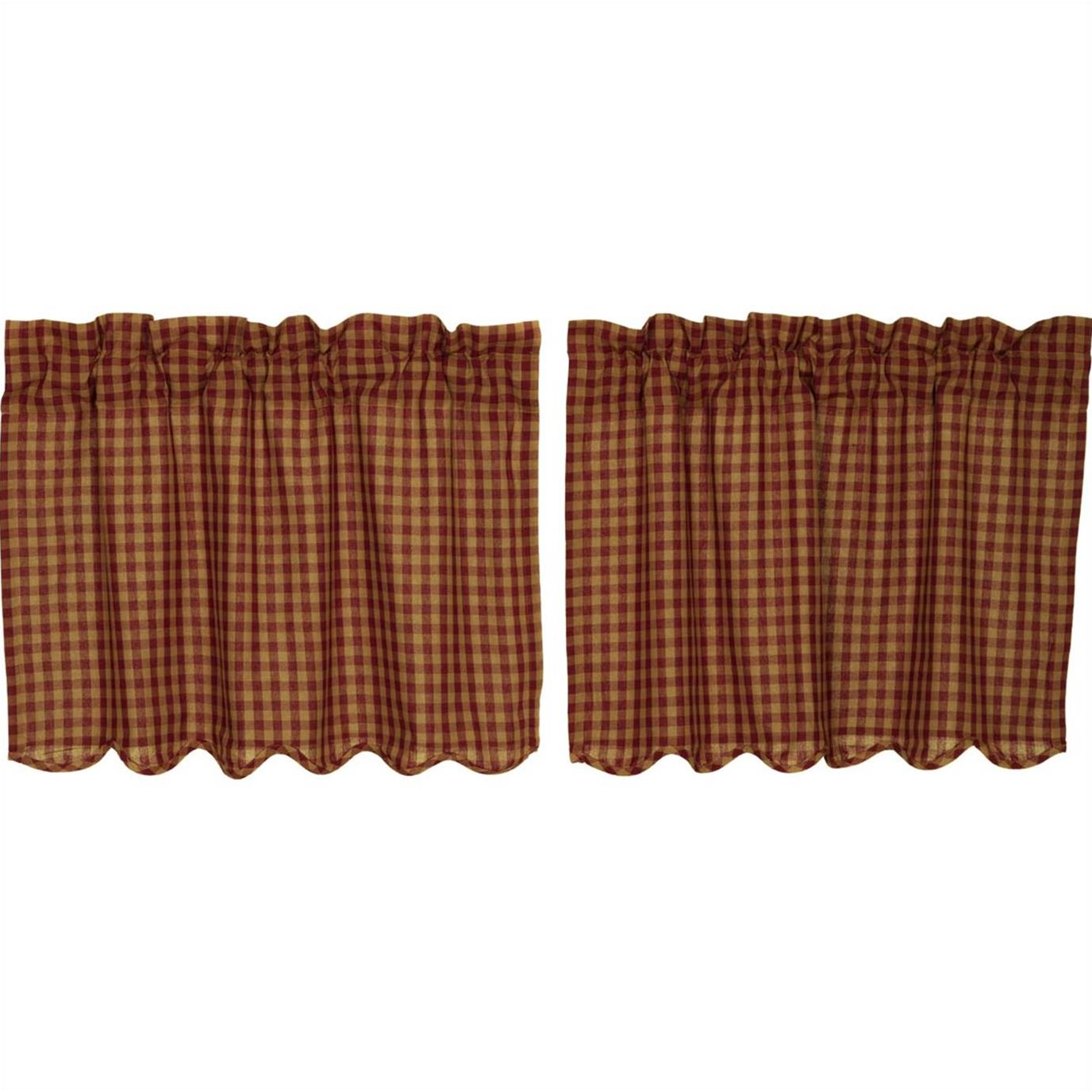 Burgundy Check Scalloped Tier Set of 2 L24xW36
