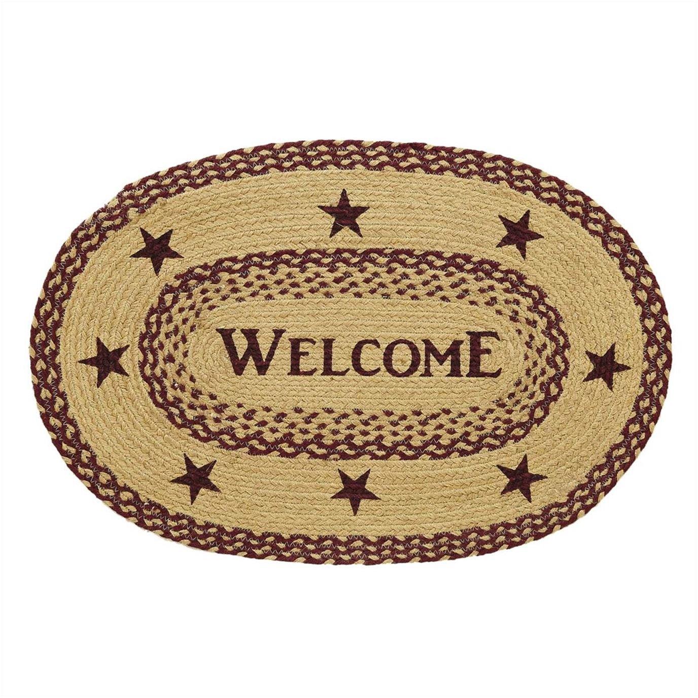 Burgundy Tan Jute Rug Oval Welcome 20x30