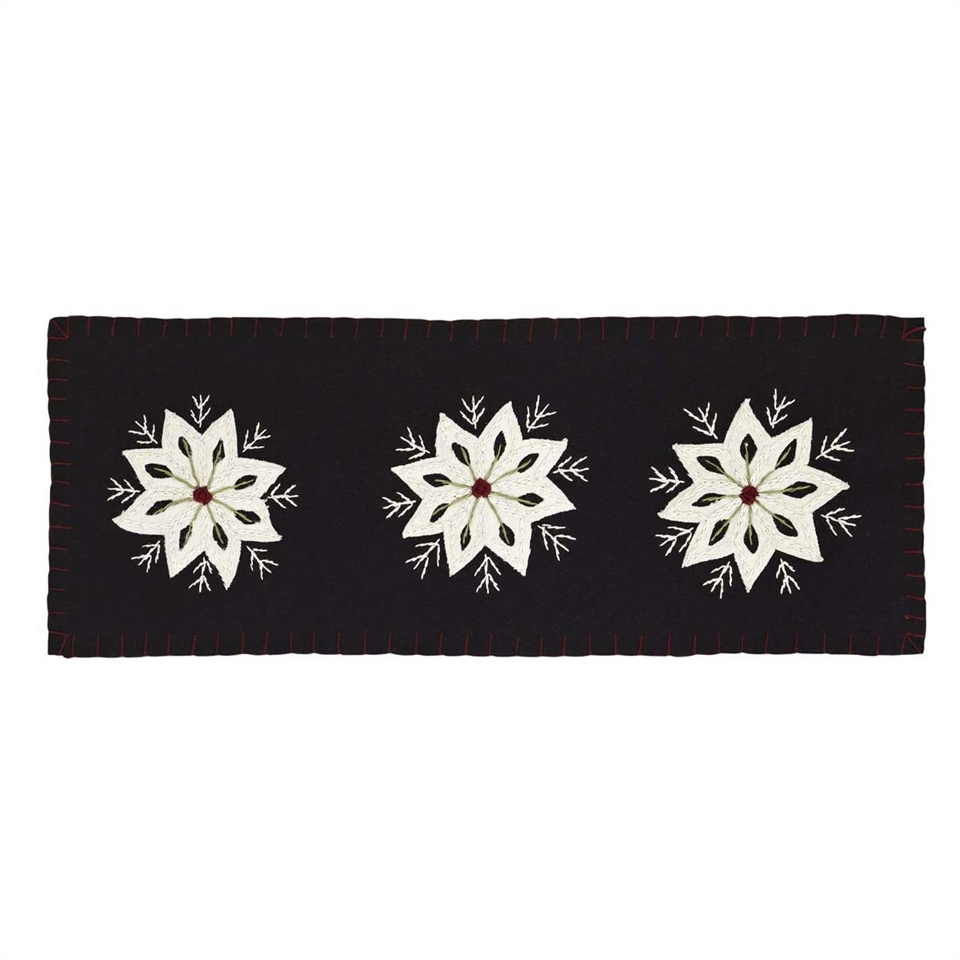 Christmas Snowflake Runner Felt Embroidery 8x24