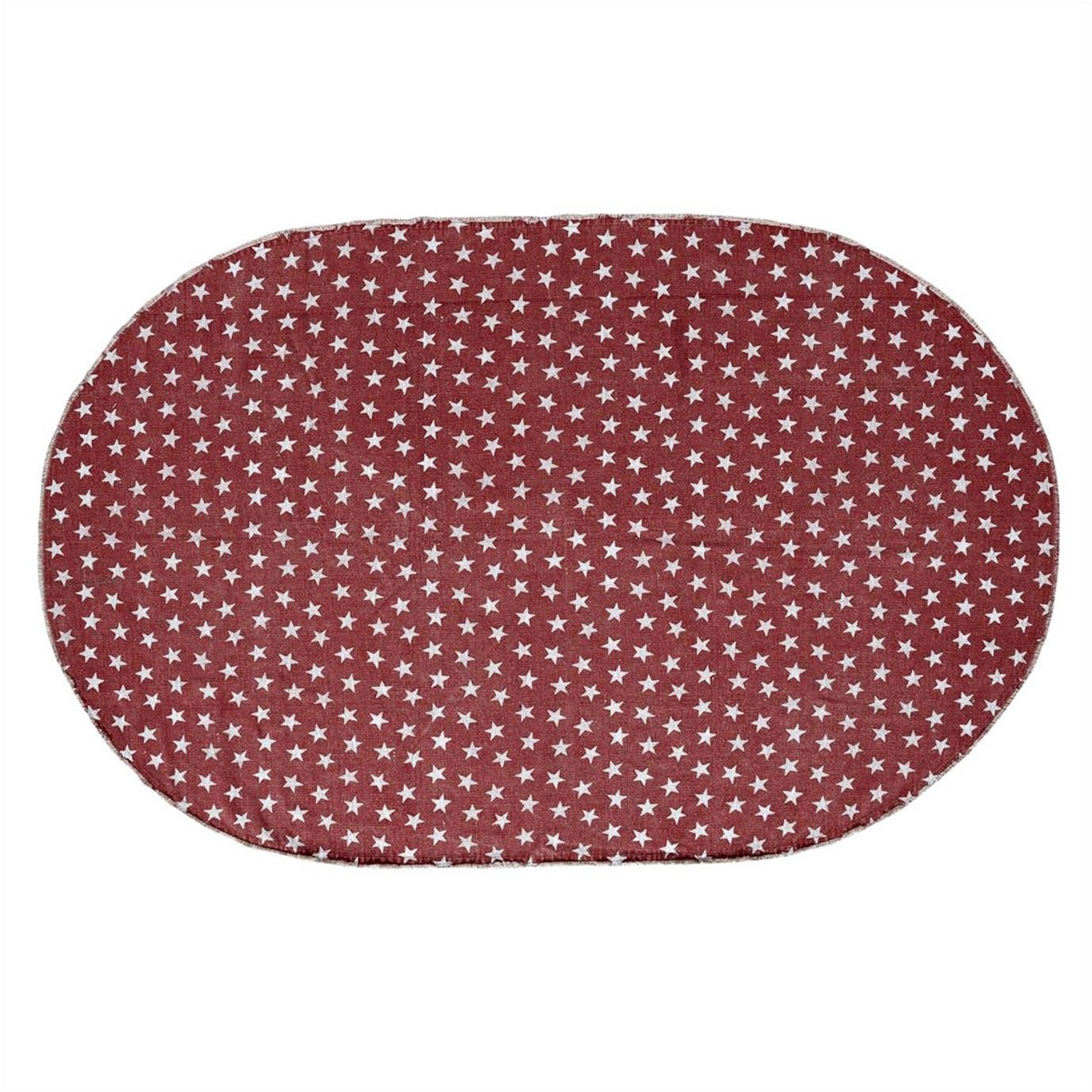 Multi Star Red Cotton Rug Oval 60x96
