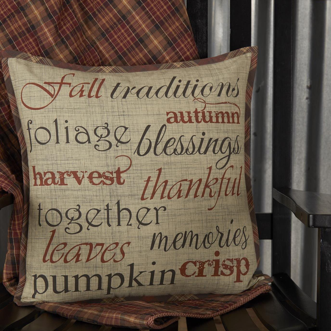 Abilene Harvest Stenciled Pillow 18x18