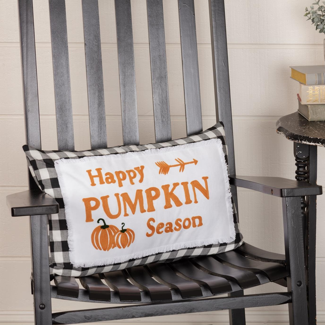Annie Buffalo Black Check Happy Pumpkin Season Pillow 14x22