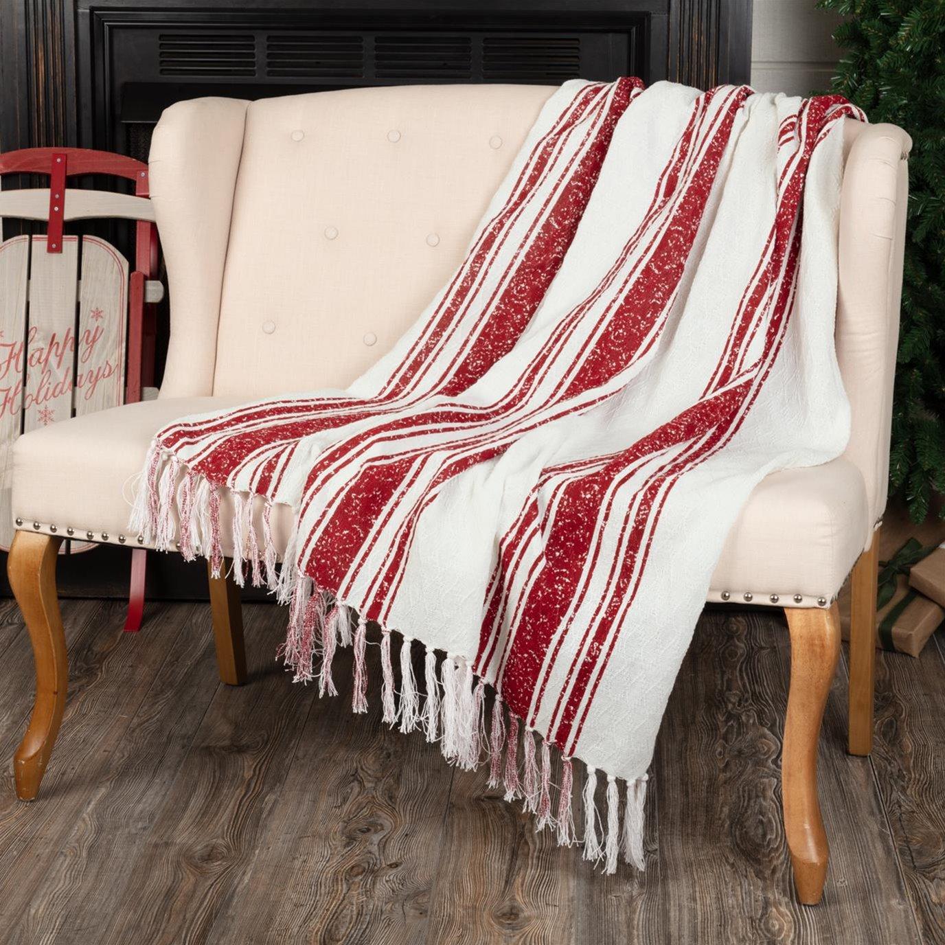 Antique Red Stripe Woven Throw 60x50