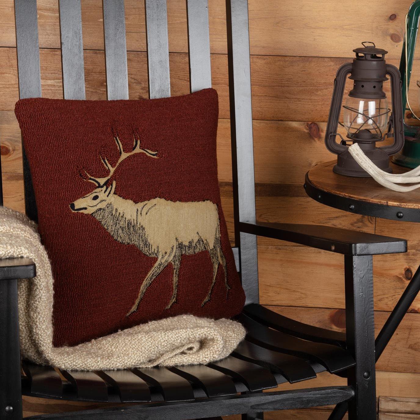 Beckham Elk Hooked Pillow 18x18