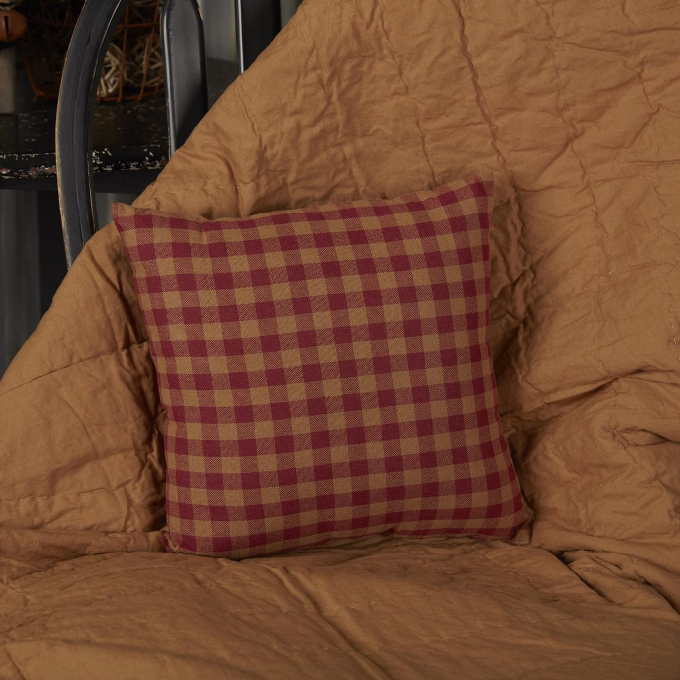 Burgundy Check Fabric Pillow 12x12