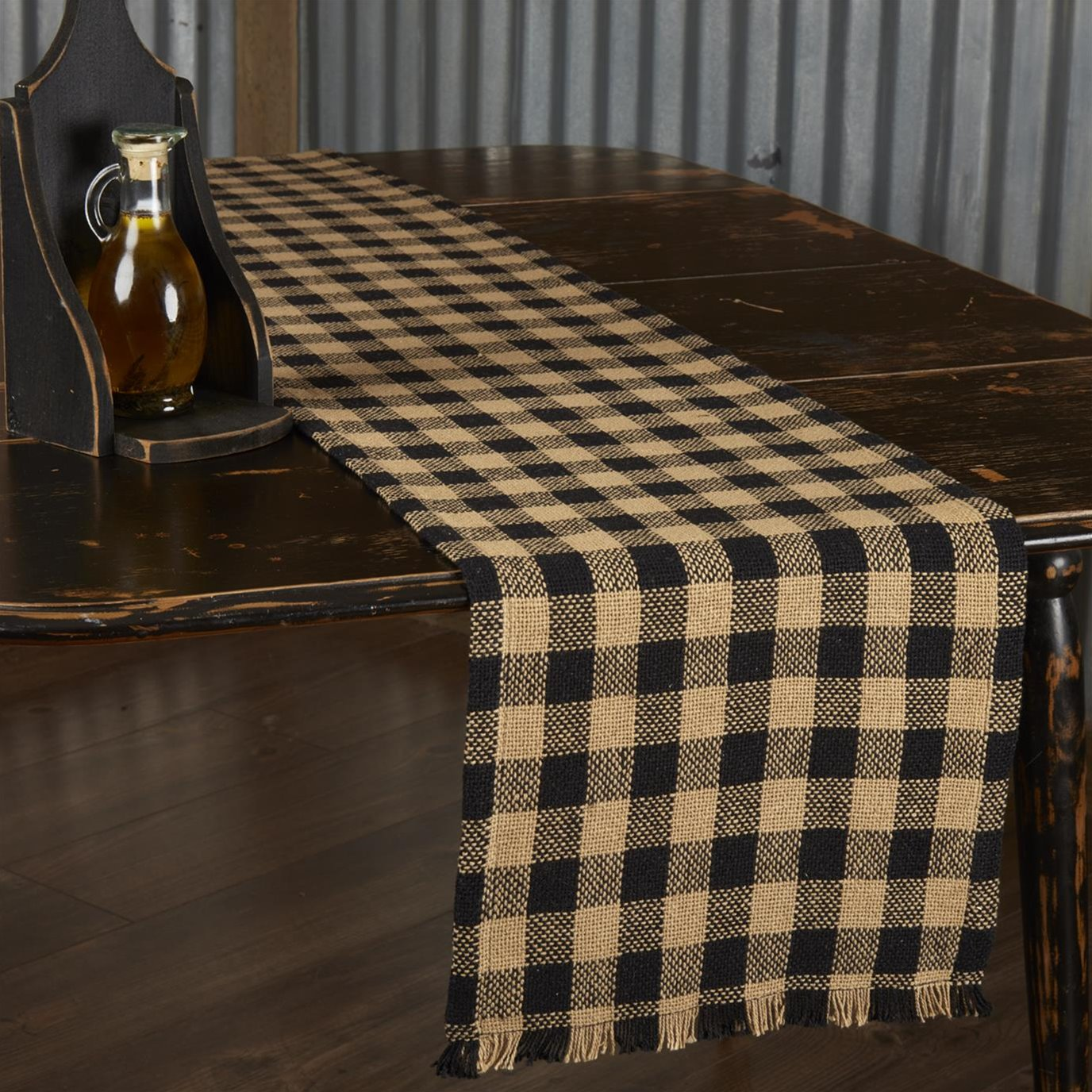 Burlap Black Check Runner Fringed 13x72