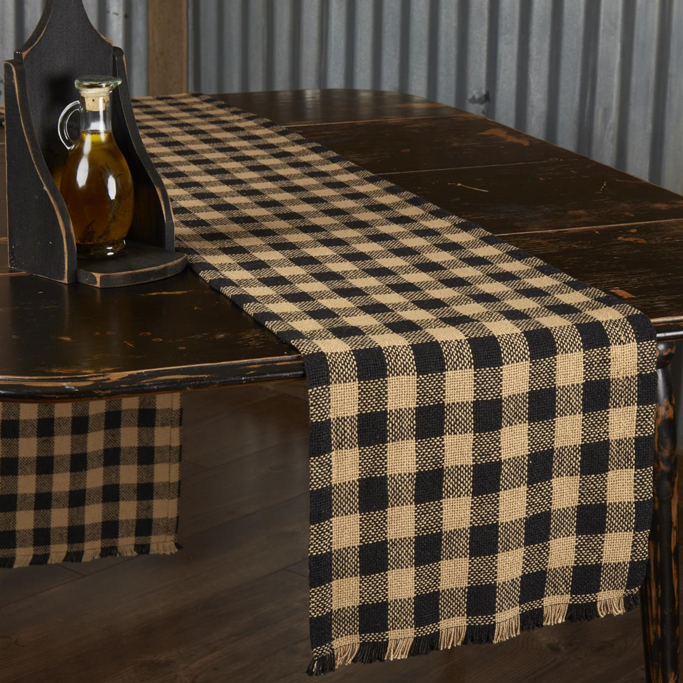 Burlap Black Check Runner Fringed 13x90