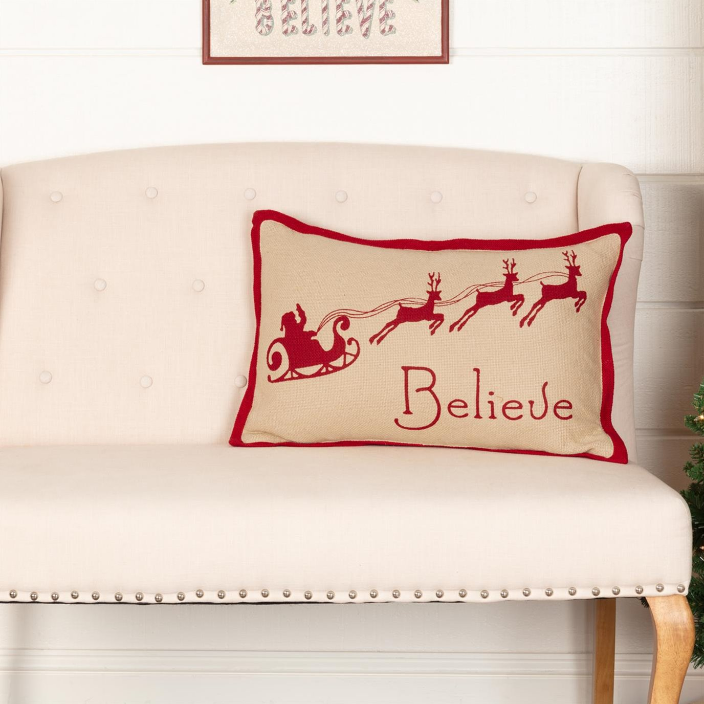 Burlap Santa Believe Pillow 14x22