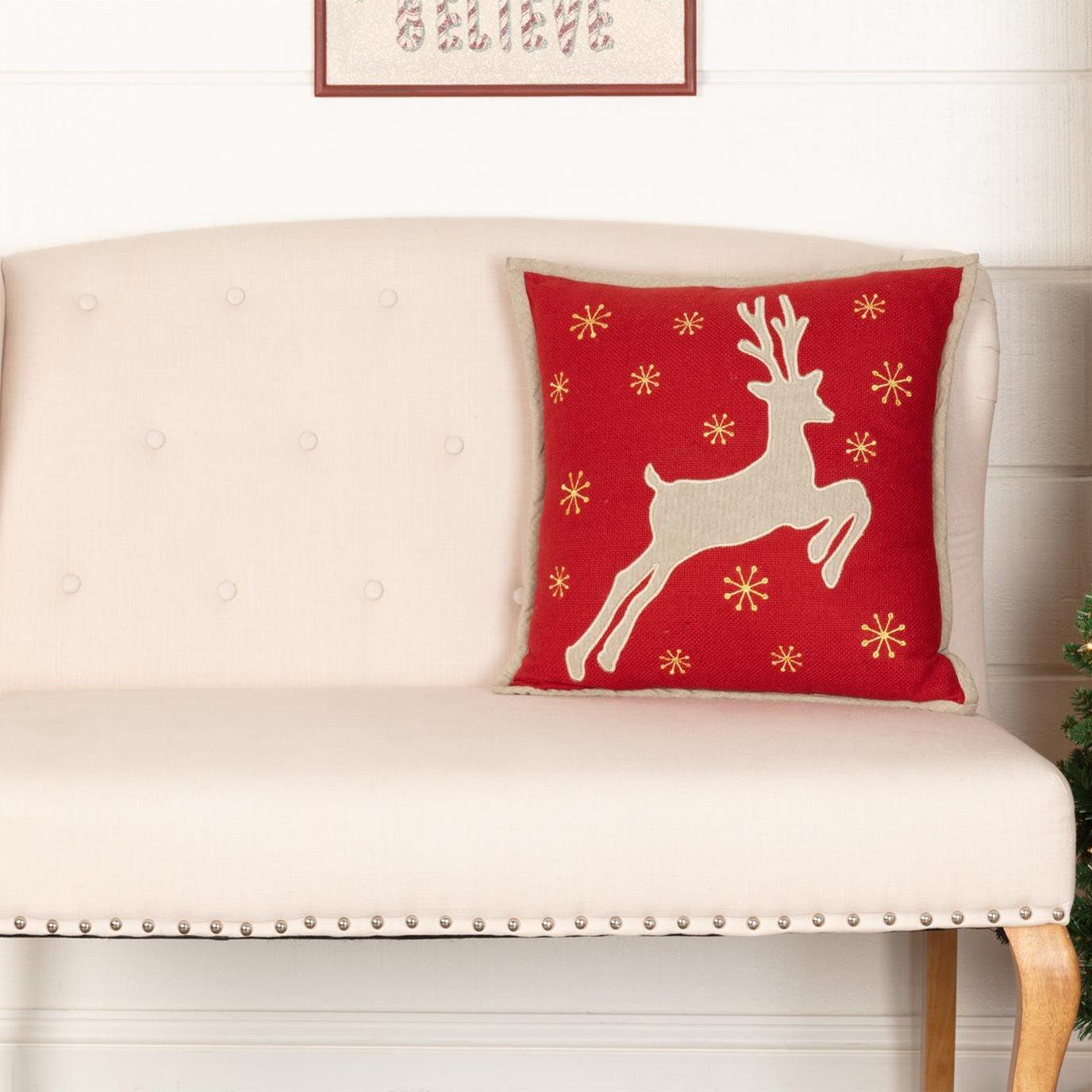 Burlap Santa Reindeer Pillow 18x18