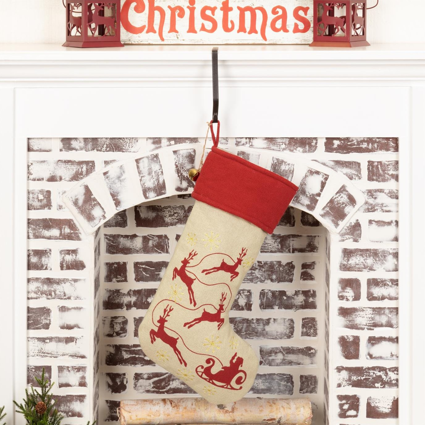 Burlap Santa Stocking 12x20