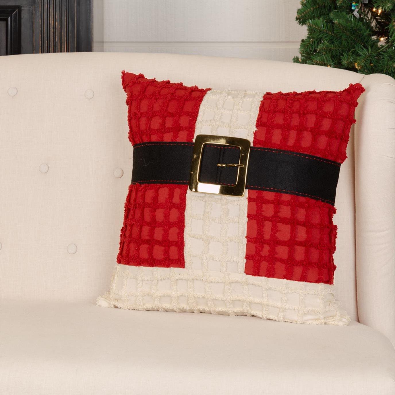Chenille Christmas Santa Suit Pillow 18x18