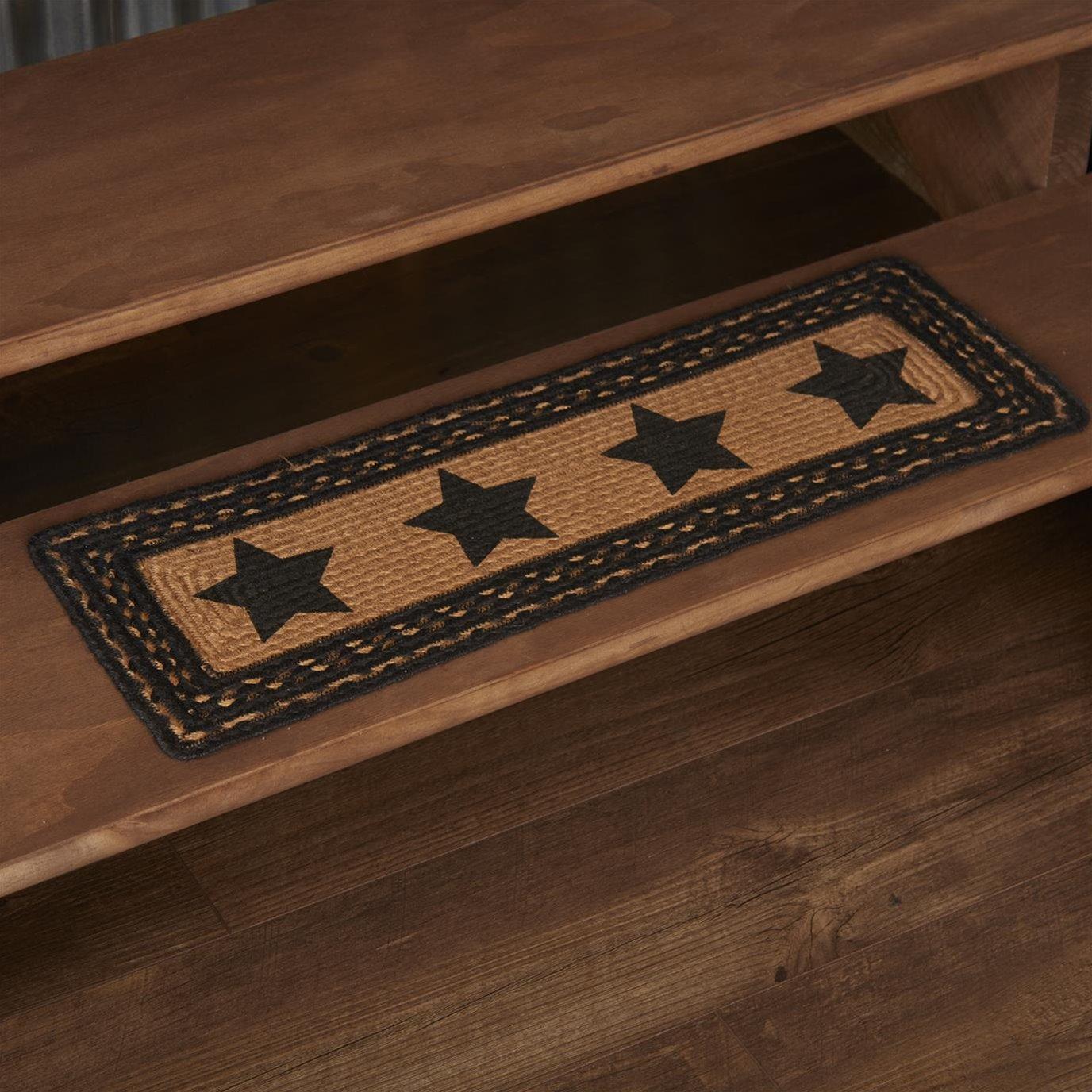 Farmhouse Jute Stair Tread Stencil Stars Rect Latex 8.5x27