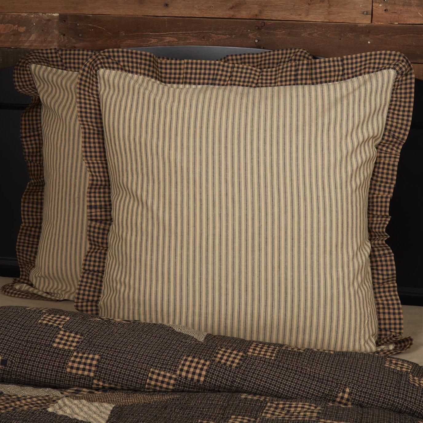 Farmhouse Star Ticking Stripe Fabric Euro Sham 26x26
